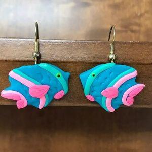 Angel Fish Polymer Clay Dangling Earrings Blue
